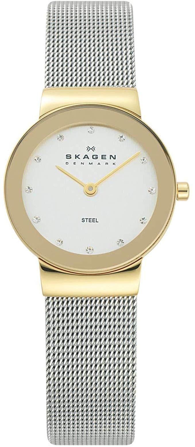 Montre femme Skagen 358SGSCD en acier - maille milanaise et cadran doré