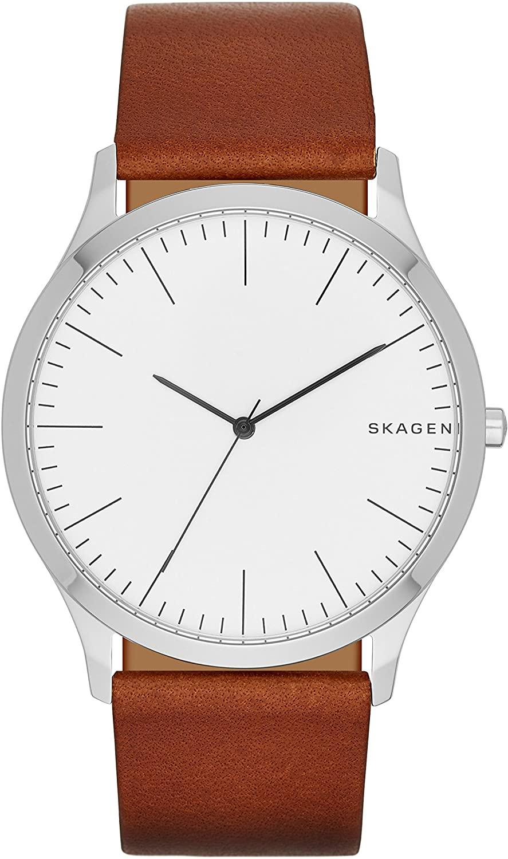 Montre Skagen pour homme avec bracelet en cuir marron, aiguilles noires, cadran blanc, SKW6331