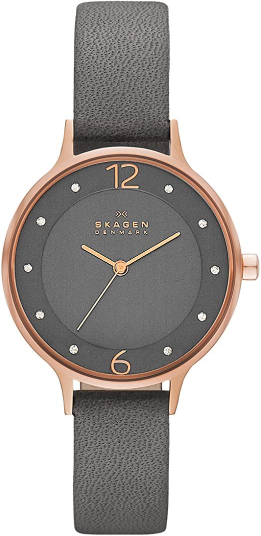 Montre Skagen pour Femme avec bracelet en cuir gris et cadran noir SKW2267 face