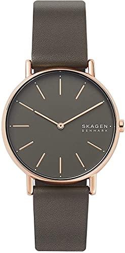 Montre Skagen en cuir gris/marron pour femme SKW2794
