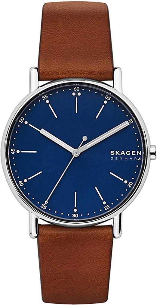 Montre Skagen pour Homme en cuir marron avec cadran bleu SKW6355