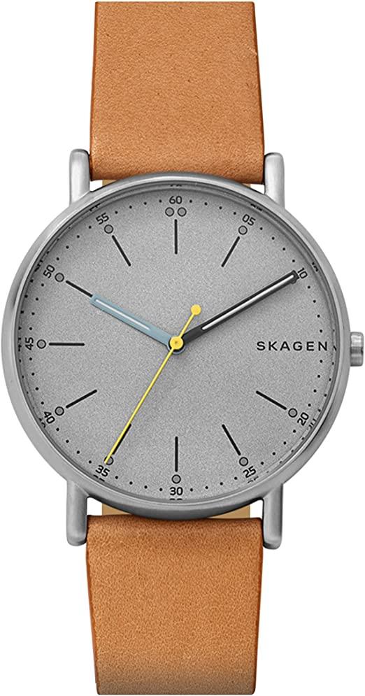 Montre Skagen pour homme avec bracelet en cuir marron et cadran gris SKW6373