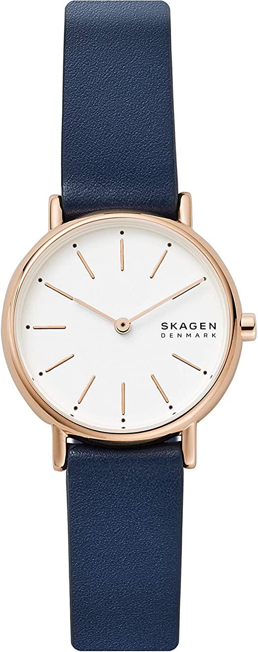 Petite montre Skagen pour femme avec bracelet en cuir bleu SKW2838