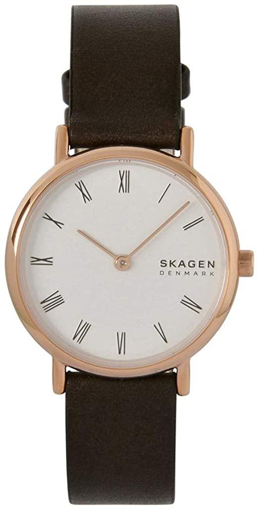 Montre Skagen Signatur pour Femme en Cuir Marron SKW2760 vue de face