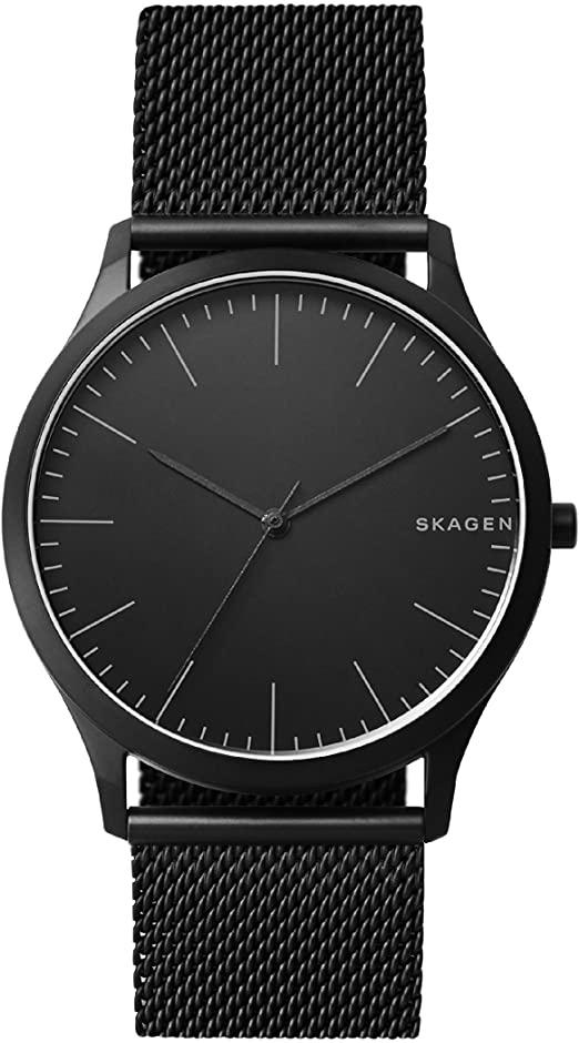 Montre noir Skagen pour homme avec bracelet en maille milanaise