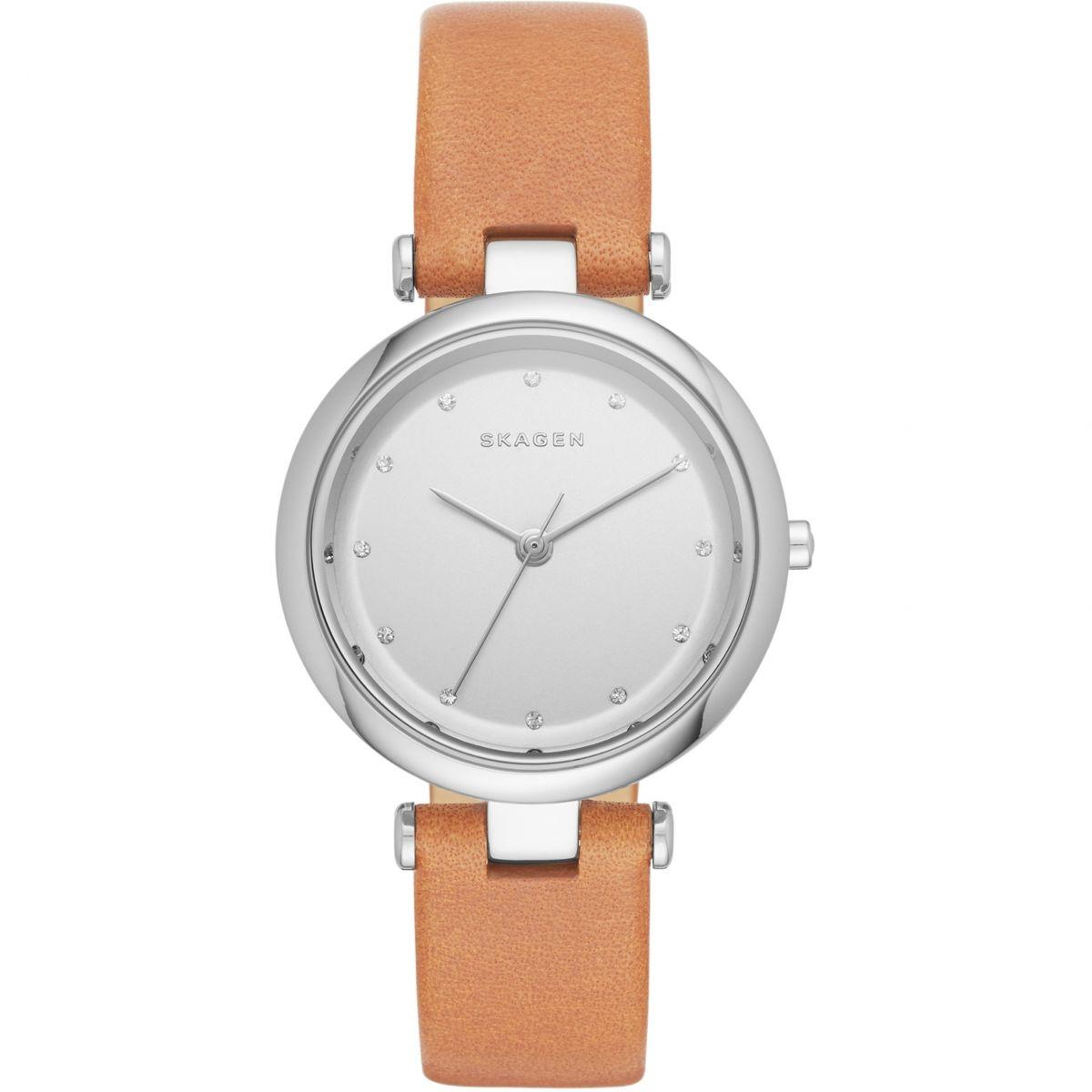 Montre Skagen pour femme avec bracelet en cuir marron modèle Tanja SK2455